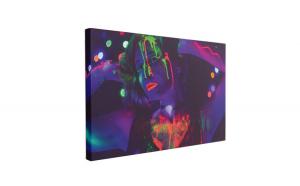 Tablou Canvas Neon Girl Party, 60 x 90 cm, 100% Poliester