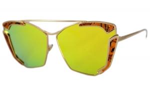 Ochelari de soare Rectangular Verde Oglinda Reflexii, A. Print - Auriu