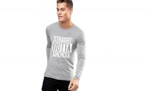 Bluza barbati gri cu text alb - Straight Outta Ghencea