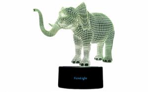Lampa 3D LED - FizioLight, Elefant, 7 culori, alimentare USB