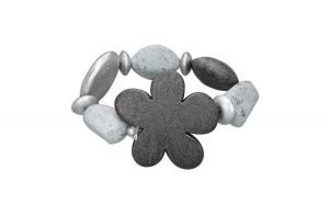Bratara eleganta gri cu floare gri si diverse pietre