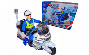 Jucarie motociclist politist, cu sunete si lumini