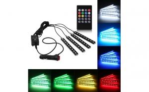 Set 4 benzi LED cu lumina ambientala auto RGB cu telecomanda, la doar 93 RON in loc de 190 RON