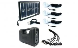 Kit lanterna cu panou solar, 3 becuri LED