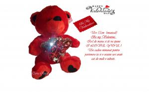 Ursulet de plus Valentine 's Day, 55 cm, muzical