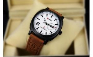 Ceas casual Curren, cu time sailing-touch, pentru barbati, curea din piele ecologica