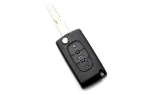 Citroen / Peugeot 406 - Carcasa tip cheie briceag cu 3 butoane, lama NE78-SH3 cu suport baterie si buton portbagaj