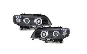 Set 2 faruri compatibil cu BMW X5 99-03, E53, pozitie angeleyes, negru