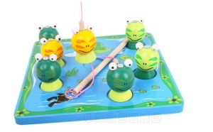 Joc lemn 'Pescuieste broscutele', #StamAcasa, Jocuri pentru toti