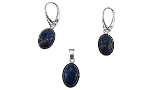 Set argint cu lapis lazuli oval 14x10 MM