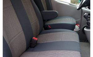 Husa / Set huse scaune auto fata ( 2+1 ) VW T5 2003-2016 - autoutilitare - NEGRU+GRI