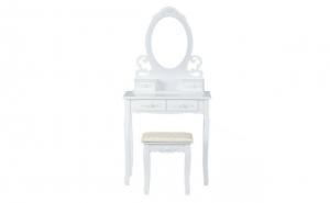 Masa de Toaleta pentru Machiaj cu Scaun, Oglinda si 4 Sertare, sculpturi florale, Alba