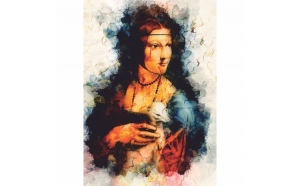 Tablou Canvas Lady with an Ermine, 40 x 60 cm, 100% Poliester