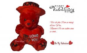 Ursulet de plus Valentine 's Day, 37 cm, cu mesaj
