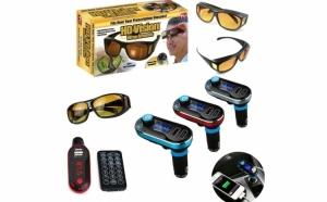 Modulator FM mp3 player, cu Bluetooth si incarcator pentru diverse dispozitive incorporat + 2 x Ochelari Hd