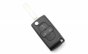 Citroen / Peugeot - Carcasa tip cheie briceag cu 4 butoane si suport baterie, lama tip HU83-SH4