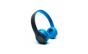 Casti wireless OPEN P47, Stereo Headphones, Fm Radio, MP3 Player, Microfon incorporat, Port Micro SD, Negru-albastru