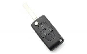 Citroen / Peugeot - Carcasa tip cheie briceag cu 4 butoane, fara suport baterie, lama tip HU83-SH4