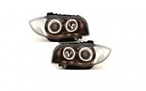 Set 2 faruri, compatibil cu BMW Seria 1 E87, E81, E82, E88 (2004-2011) pozitie Angel Eyes, negru