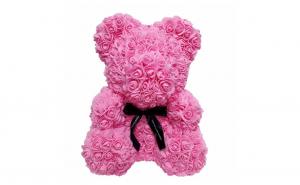 Ursulet  Rose Bear 40 cm din trandafiri,culoare roz