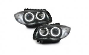 Set 2 faruri, compatibil cu BMW Seria 1 E87 (2004-2007) 2 Angel Eyes, negru
