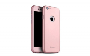 Husa Apple iPhone 6/6S IPAKY Full Cover 360 Roz Auriu + Folie Cadou