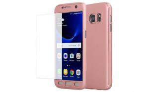 Husa 360 Grade cu Geam Samsung Galaxy A3 2016,Gold Rose