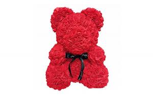 Ursulet  Rose Bear 40 cm din trandafiri,culoare rosu
