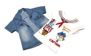 Set 2 piese Camasa din denim si Tricou cu imprimeu Capitan/Caribbea Summer,culoare Albastru/Alb