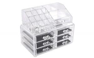 Organizator transparent cu 6 sertare pentru cosmetice