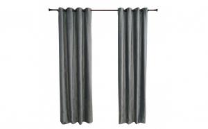 Set 2 draperii Heinner Home, catifea, 140x270 cm, sistem de prindere cu inele metalice, 2 cordoane tip sfoara, gri