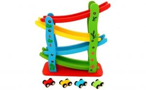 Set 4 masini din lemn + rampa etajata, Ziua copilului, Jucarii de lemn