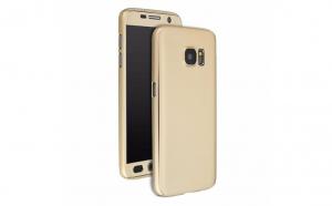 Husa 360 Grade cu Geam Samsung Galaxy A5 2016,Gold
