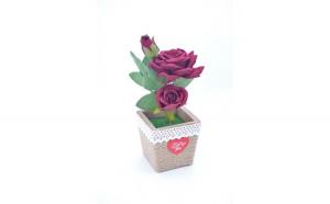 Trandafir artificial in ghiveci, grena,