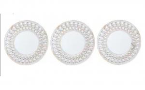 Set 3 oglinzi perete - auriu-alb