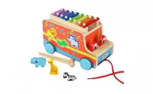 Autobuz din lemn cu sortator si xilofon, Ziua copilului, Jucarii de lemn