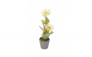 Floare decorativa in ghiveci, alb, 29 cm