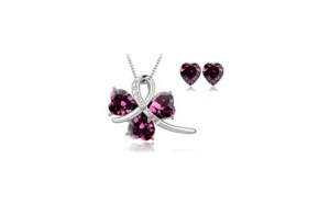 Set bijuterii   SWEET LEAF purple cu
