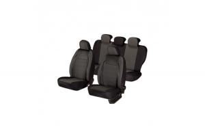 Huse scaune auto RENAULT MEGANE II 2001-2010  dAL Elegance Negru,Piele ecologica + Textil