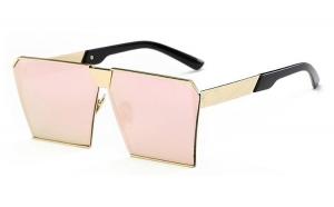 Ochelari de soare Rectangular Plat Oglinda Roz - Auriu