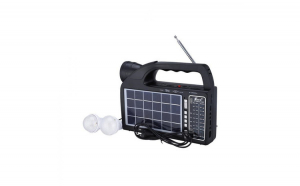 Set Radio Portabil AM/FM/SW1-2 4 Benzi cu Incarcare Solara, Lanterna si Bec Atasabil, USB/SD/TF Card si Bluetooth, Fepe FP-1822ULS-BT, Negru si Modulator Centenar KC-681