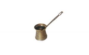 Ibric turcesc stil otoman din zamac auriu si inox 200 ml