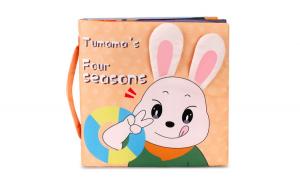 Carticica fosnitoare senzoriala Four Seasons Tumama  , pentru dentitia copiilor si a bebelusilor, varsta +3 luni, material bumbac, design iepuras, multicolor