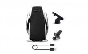 Suport auto cu incarcare wireless, smart sensor negru, S5 2 in 1, prindere ventilatie sau cu ventuza