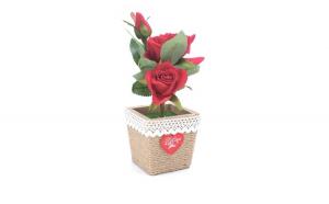 Trandafir artificial in ghiveci, rosu,