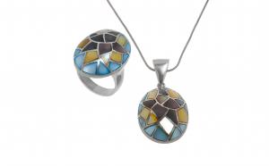 Set, pandantiv si inel din argint 925, ornamentat cu sidef, multicolor, circumferinta 52 mm, SAG195