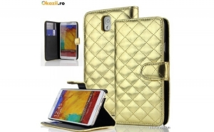 Husa Samsung Galaxy Note 3 Flip Portofel Gold Luxury