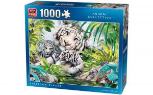 King Puzzle 1000 piese Tigru siberian cu pui - 68*49 cm