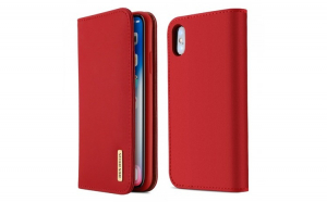 Husa Bookcase DUX DUCIS Wish Genuine Leather iPhone XS Max red
