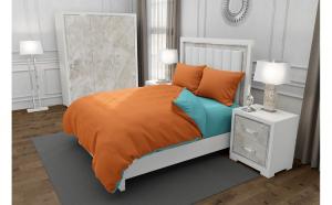 Lenjerie de pat matrimonial SUPER cu 4 huse de perna dreptunghiulara, Duo Orange, bumbac satinat, gramaj tesatura 120 g mp, Portocaliu Turcoaz, 6 piese